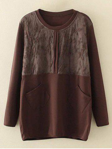 Store Plus Size Embroidery Floral Trim Sweatshirt BROWN XL