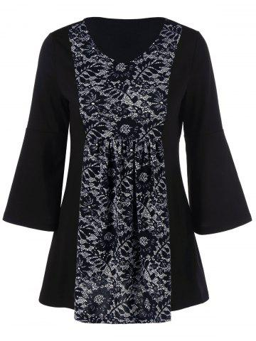 Floral Lace Insert Tunic T-Shirt - Black - M