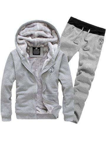 Zip Up Patch Hoodie Twinset - Gray - Xl