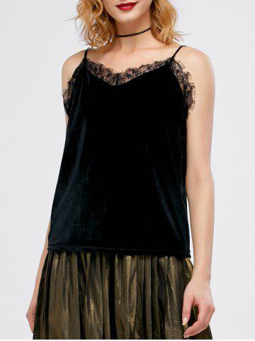 Velvet Lace Panel Eyelash Cami Top - Black - One Size