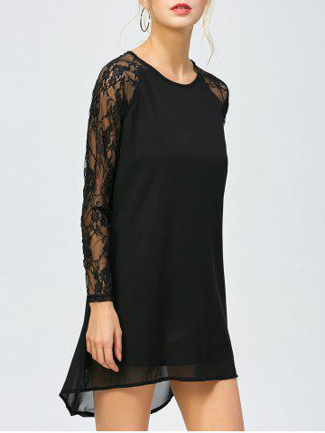 Fancy High Low Shift Short Dress with Lace Insert BLACK M