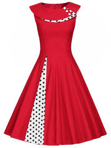 Shop Polka Dot Sleeveless Pleated A Line Dress RED 2XL