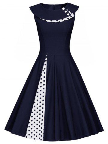 New Polka Dot Sleeveless Pleated A Line Dress