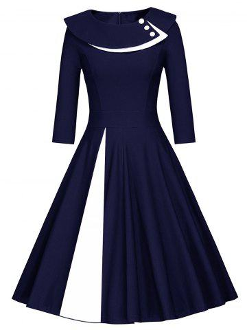 Online Pleated Color Block A Line Dress BLUE AND WHITE XL