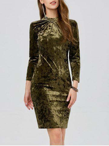 Chic Velvet Ruched Slimming Bodycon Bandage Dress GREEN L