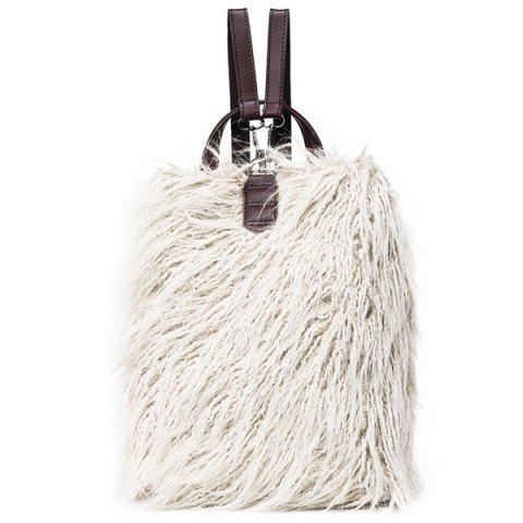 Shops PU Leather Panel Faux Fur Backpack