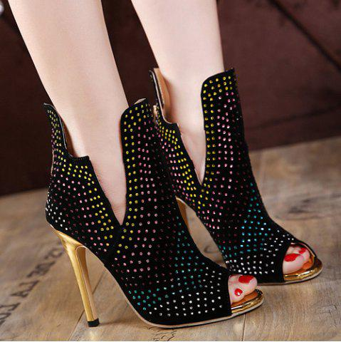 Affordable Rhinestoned Stiletto Heel Peep Toe Shoes BLACK 38
