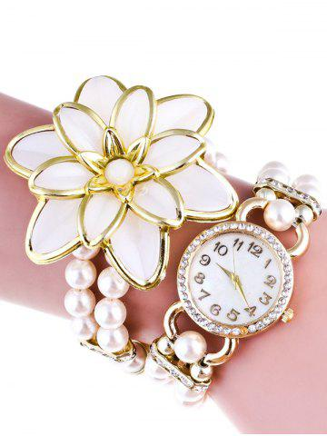 Best Flower Faux Pearl Beads Bracelet Watch