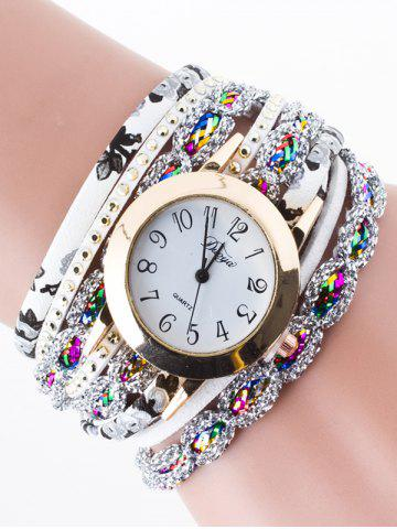 Latest Rhinestone Wrap Bracelet Watch WHITE