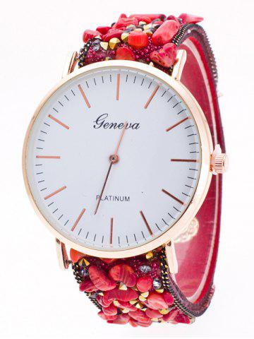 Latest Faux Stone Studded Analog Watch