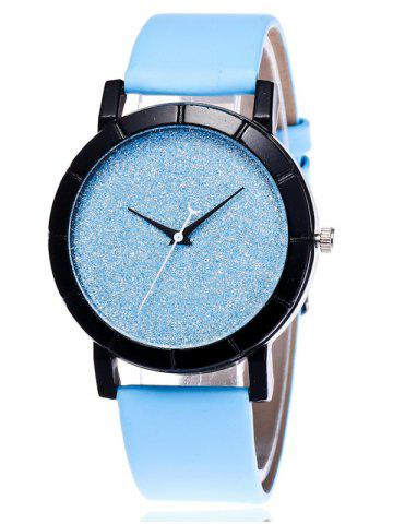 Shop Faux Leather Glitter Analog Watch BLUE