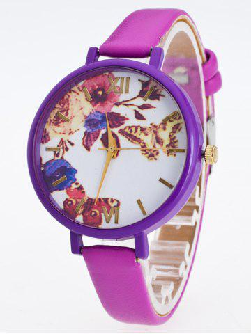 Hot Faux Leather Flower Butterfly Watch