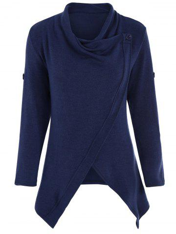 Fancy Knitted Button Asymmetric Cardigan DEEP BLUE M