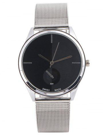 Cheap Quartz Watch with Steel Watchband BLACK