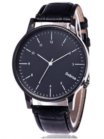 Discount Faux Leather Number Wrist Watch BLACK