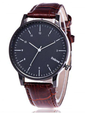 Shop Faux Leather Number Wrist Watch COFFEE