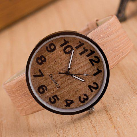 Chic Faux Leather Wood Grain Watch COMPLEXION
