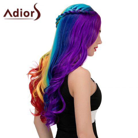 Store Adiors Long Colorful Centre Parting Side Braided Wavy Synthetic Wig - COLORFUL  Mobile