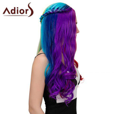 Cheap Adiors Long Colorful Centre Parting Side Braided Wavy Synthetic Wig - COLORFUL  Mobile
