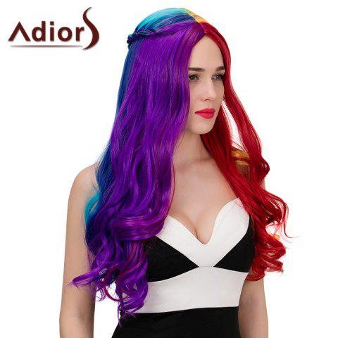 New Adiors Long Colorful Centre Parting Side Braided Wavy Synthetic Wig - COLORFUL  Mobile