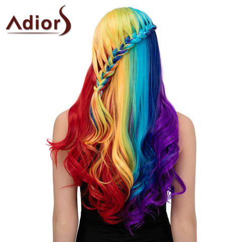 Affordable Adiors Long Colorful Centre Parting Side Braided Wavy Synthetic Wig COLORFUL