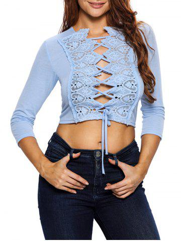 Affordable Hollow Out Lace Up Short Top