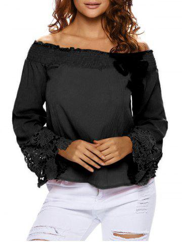 Chic Lace Sleeve Off The Shoulder Blouse BLACK M