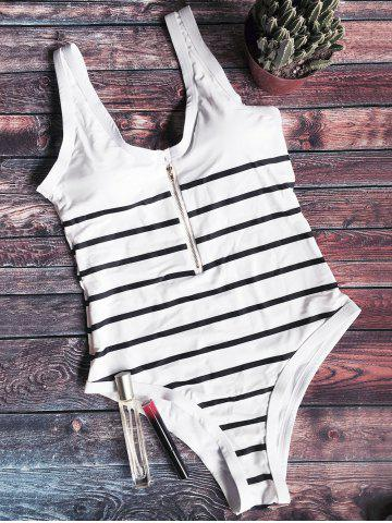 Cheap Striped Zip Front One Piece Swimsuit WHITE AND BLACK M