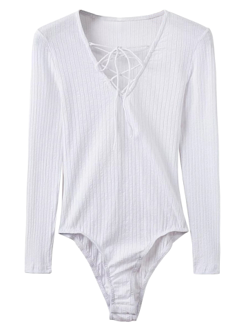 Unique Lace Up Ribbed Skinny Cotton Bodysuit WHITE M