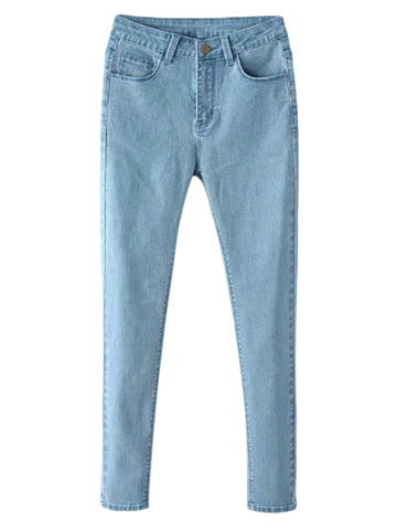 Shop Zip Fly High Waisted Skinny Jeans LIGHT BLUE M