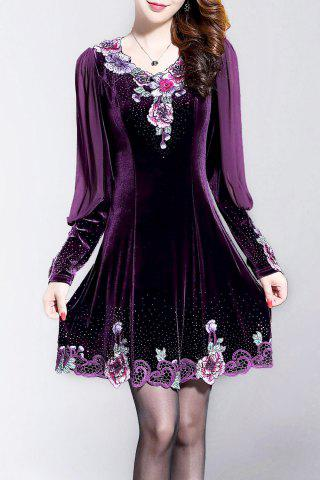 Unique Embroidered Long Sleeve Velvet Dress - 3XL DEEP PURPLE Mobile