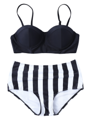 High Waisted Striped Push Up Bikini -
