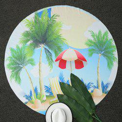 Tropical Coconut Tree Print Round Beach Throw