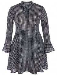 Plus Size Polka Dot Bow Tie Chiffon Dress