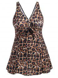Padded Leopard Print Skirted One-Piece Swimsuit - LEOPARD 4XL