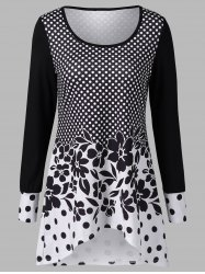 Polka Dot and Floral T-Shirt - WHITE AND BLACK L