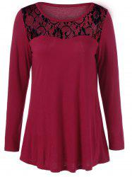 Lace Trim Openwork T-Shirt - RED/BLACK M