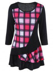 Plaid Trim Layered T-Shirt -
