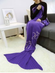 Happy New Year Design Knitted Mermaid Blanket Throw