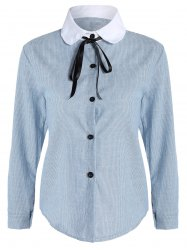 Pussy Bow Striped Button Up Blouse -