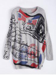 Oversized Stamp Print Sweater