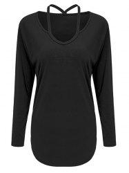Cutout Long Sleeve Tee - BLACK M