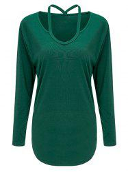 Cutout Long Sleeve Tee - GREEN M