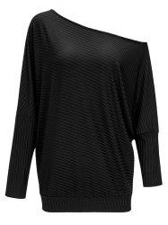 Ribbed Skew Collar Batwing Sleeve Tee -