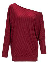 Ribbed Skew Collar Batwing Sleeve Tee