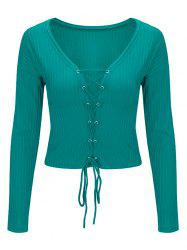 Lace Up Long Sleeve Cropped Top