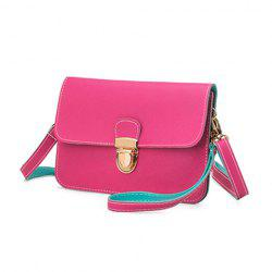 Color Block Push Lock Crossbody Bag