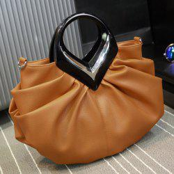 Faux Leather Ruched Handbag