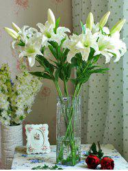 Artificial Blossoming Lily Branch - WHITE