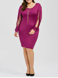 Slit Sleeve Plus Size Knee Length Dress
